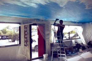 image de peinture decorative fresque trompe l oeil faux ciel plafond bleu deco salon originale cuisines schmidt cannes