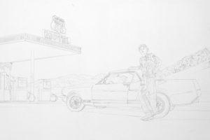 image de peinture murale fresque trompe l oeill voiture retro portrait decoration garage lille